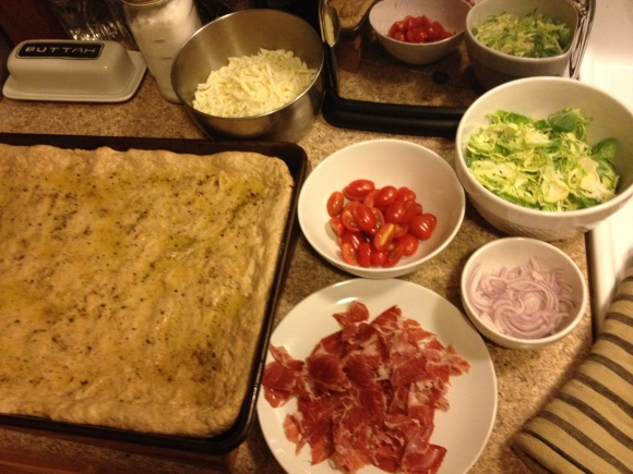 Homestyle pizza with shaved brussels sprouts and capicola   Brooklyn Homemaker