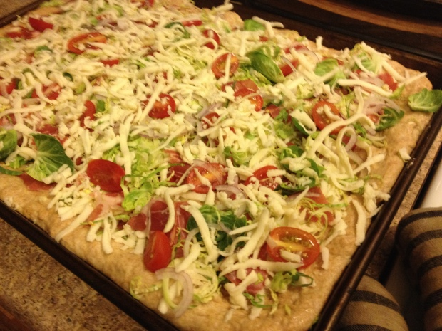 Homestyle pizza with shaved brussels sprouts and capicola | Brooklyn Homemaker