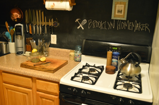chalkboard backsplash in kitchen | Brooklyn Homemaker