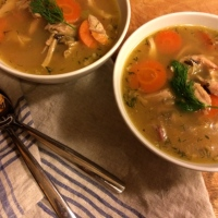 Turkey Soup with Wild Rice and Dill