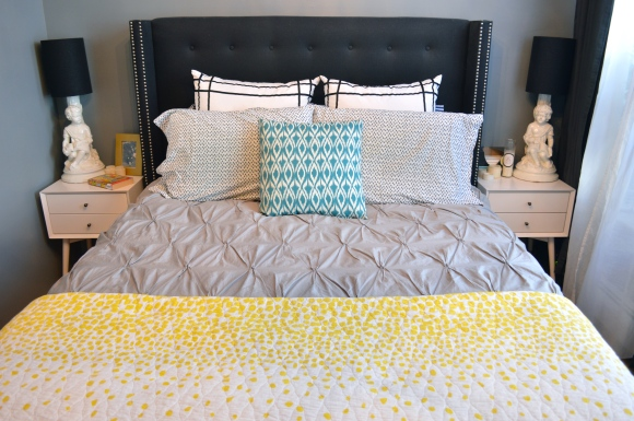 bedding, side tables and lamps | Brooklyn Homemaker