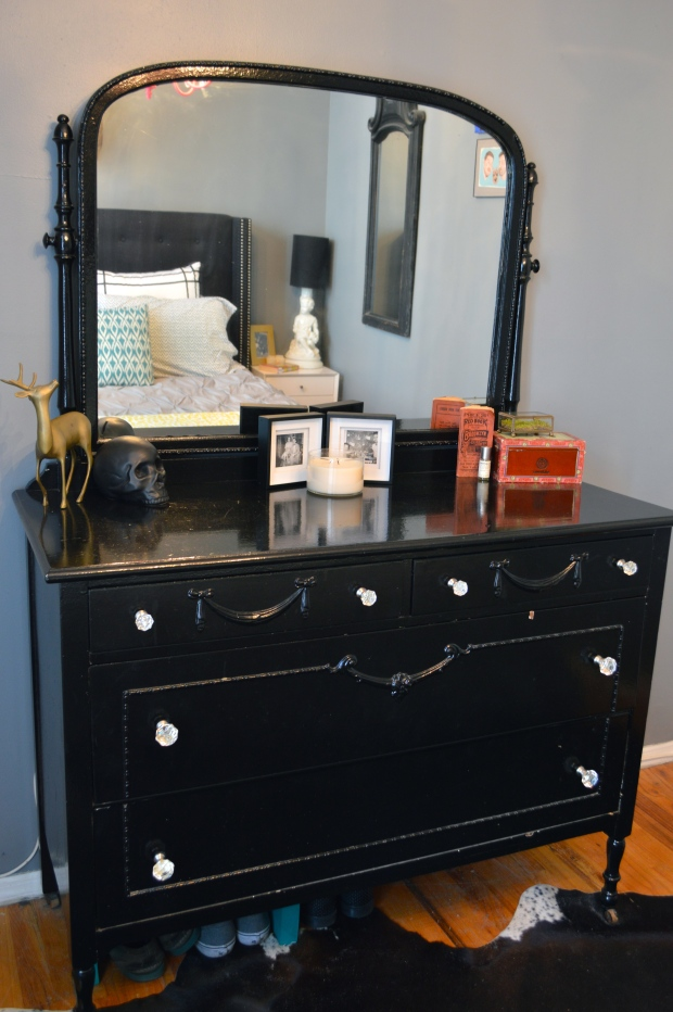 antique dresser painted black | Brooklyn Homemaker