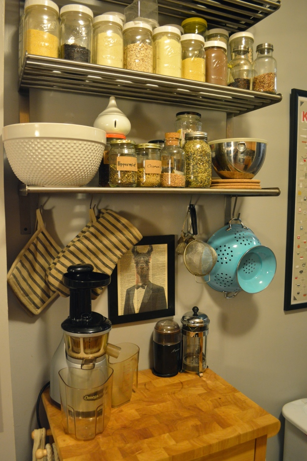 shelving and storage cart in the kitchen | Brooklyn Homemaker