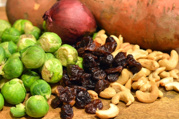 warm farro salad with roasted sweet potatoes & brussels sprouts | Brooklyn Homemaker