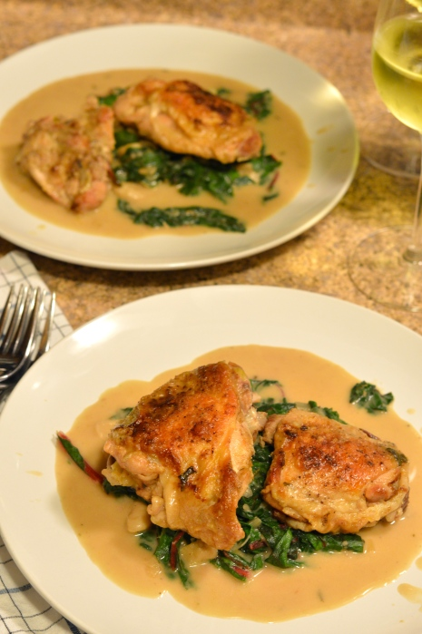 braised chicken thighs with creamy greens and beans | Brooklyn Homemaker