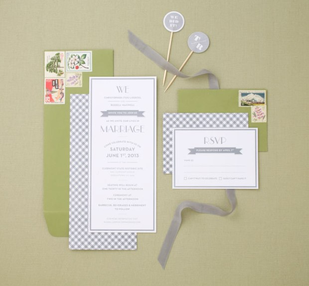 grey gingham & green wedding invitations with vintage stamps | Tuxedo & Russell's Hudson Valley June Wedding | Brooklyn Homemaker