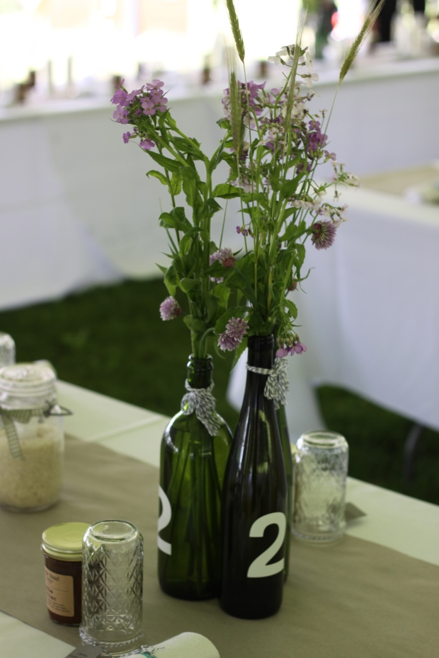 wine bottle table markers and centerpiece | Tuxedo & Russell's Hudson Valley June Wedding | Brooklyn Homemaker