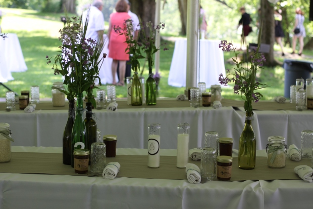 wedding tables with wine bottle centerpieces | Tuxedo & Russell's Hudson Valley June Wedding | Brooklyn Homemaker