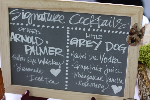 chalkboard wedding menu with summer signature cocktails | Tuxedo & Russell's Hudson Valley June Wedding | Brooklyn Homemaker