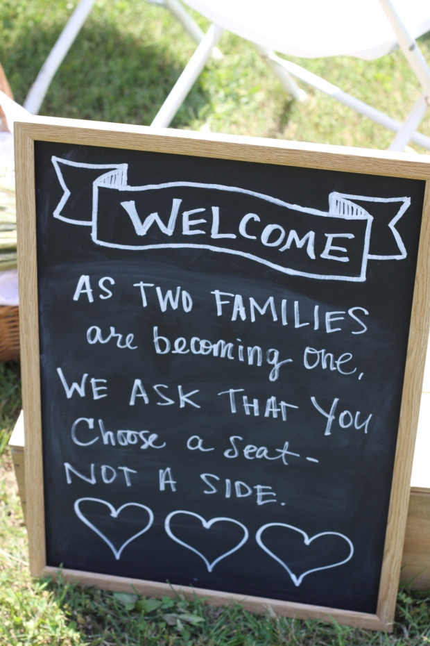 chalkboard welcome message | Tuxedo & Russell's Hudson Valley June Wedding | Brooklyn Homemaker