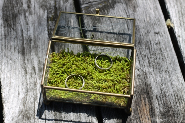 vintage glass ring box with moss