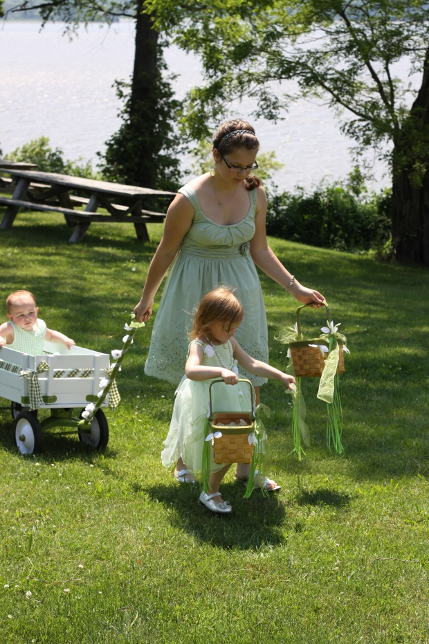 baby flower girl in painted wagon | Tuxedo & Russell's Hudson Valley June Wedding | Brooklyn Homemaker