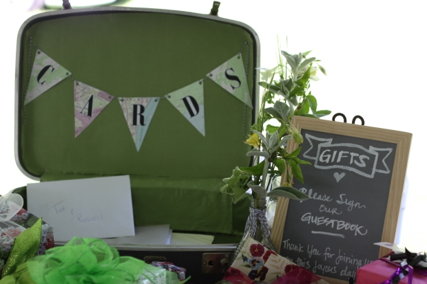 green suitcase card box | Tuxedo & Russell's Hudson Valley June Wedding | Brooklyn Homemaker