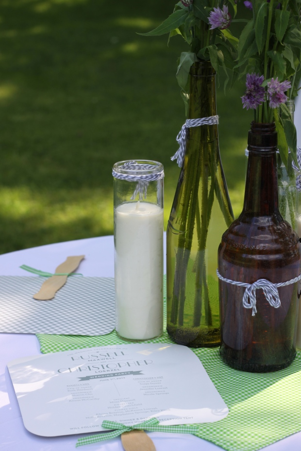 antique bottle wedding centerpieces | Tuxedo & Russell's Hudson Valley June Wedding | Brooklyn Homemaker
