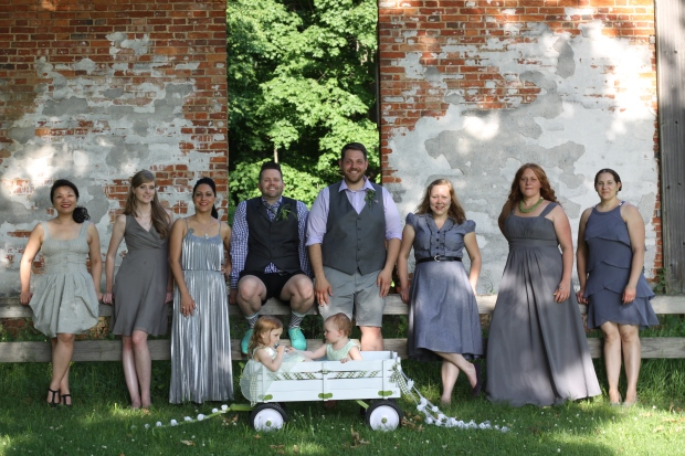 mismatched grey bridesmaids dresses | Tuxedo & Russell's Hudson Valley June Wedding | Brooklyn Homemaker