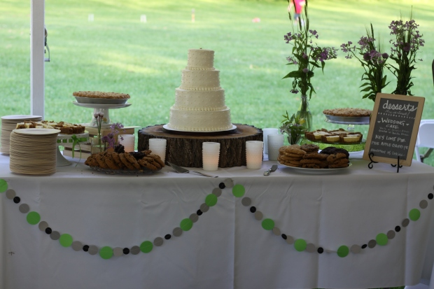 rustic dessert table & white swiss dot wedding cake | Tuxedo & Russell's Hudson Valley June Wedding | Brooklyn Homemaker
