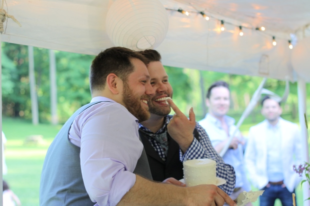 cake cutting at same sex wedding | Tuxedo & Russell's Hudson Valley June Wedding | Brooklyn Homemaker