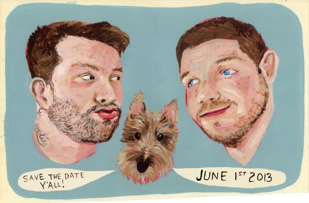 custom save the date artwork by Martha Rich | Tuxedo & Russell's Hudson Valley June Wedding | Brooklyn Homemaker