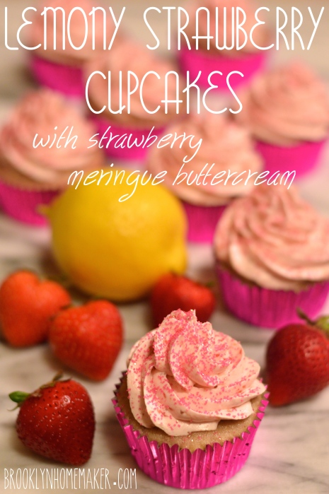 lemony strawberry cupcakes with strawberry meringue buttercream | Brooklyn Homemaker