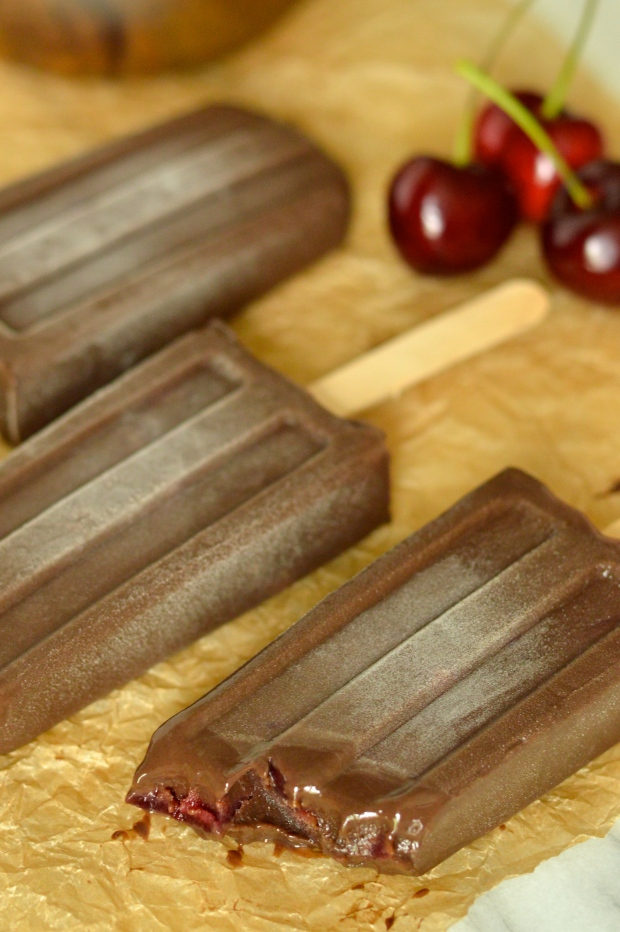 cherry & chocolate pudding ice pops | Brooklyn Homemaker