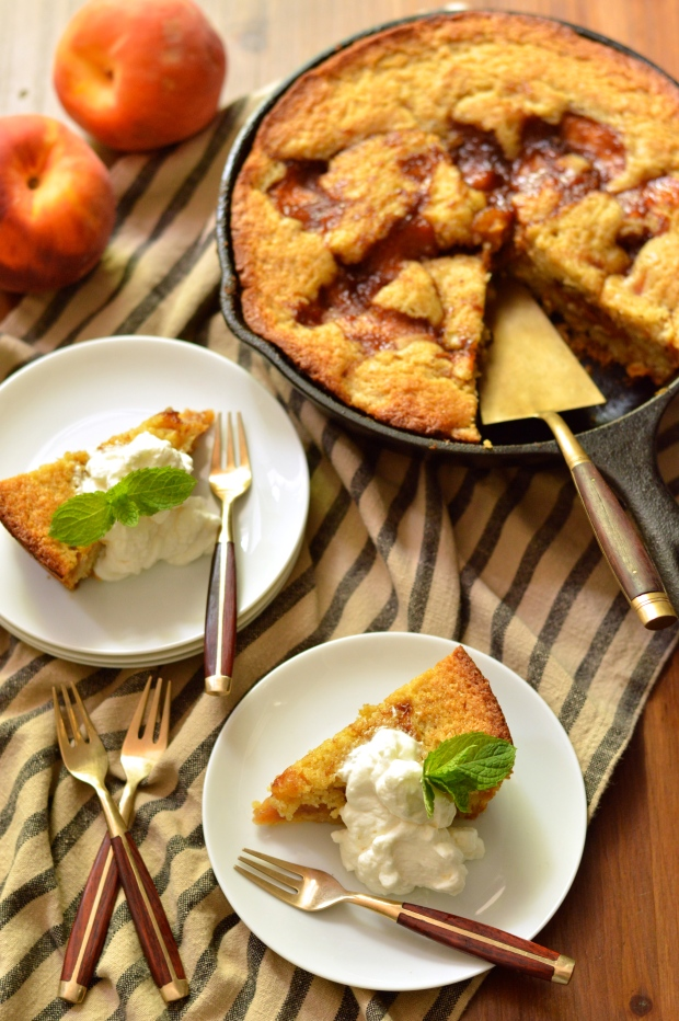 caramelized peach cornmeal skillet cake with bourbon whipped cream | Brooklyn Homemaker