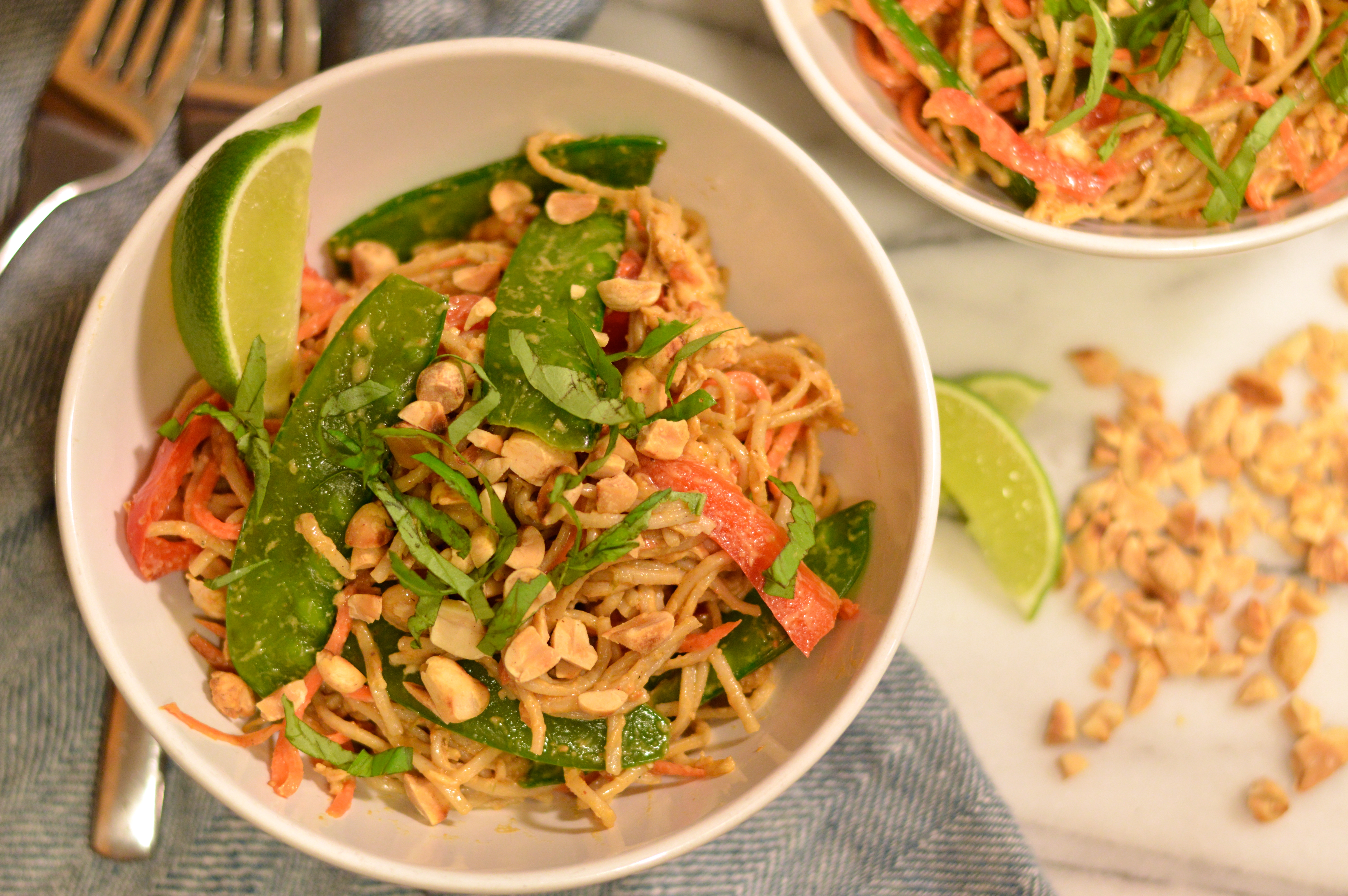 spicy peanut sauce zucchini noodle salad with of her lovely zucchini ...