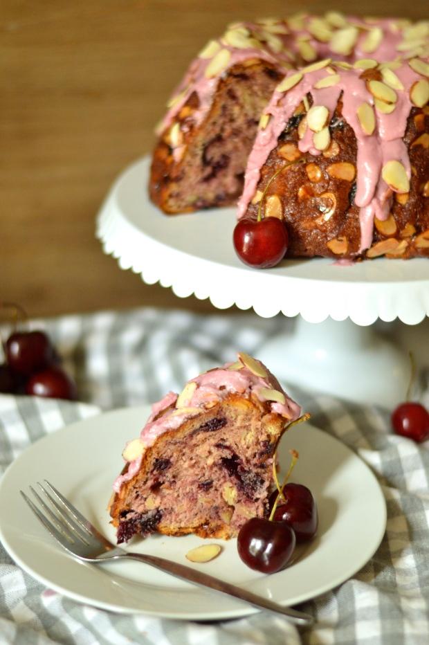 roasted cherry kugelhopf with cherry bourbon glaze | Brooklyn Homemaker