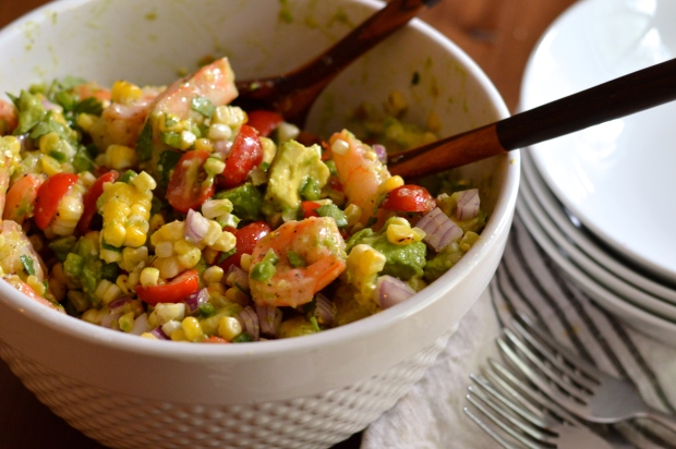 roasted shrimp and charred corn salad with jalapeño lime dressing | Brooklyn Homemaker