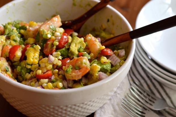 roasted shrimp and charred corn salad with jalapeño lime dressing | Brooklyn Homemaker