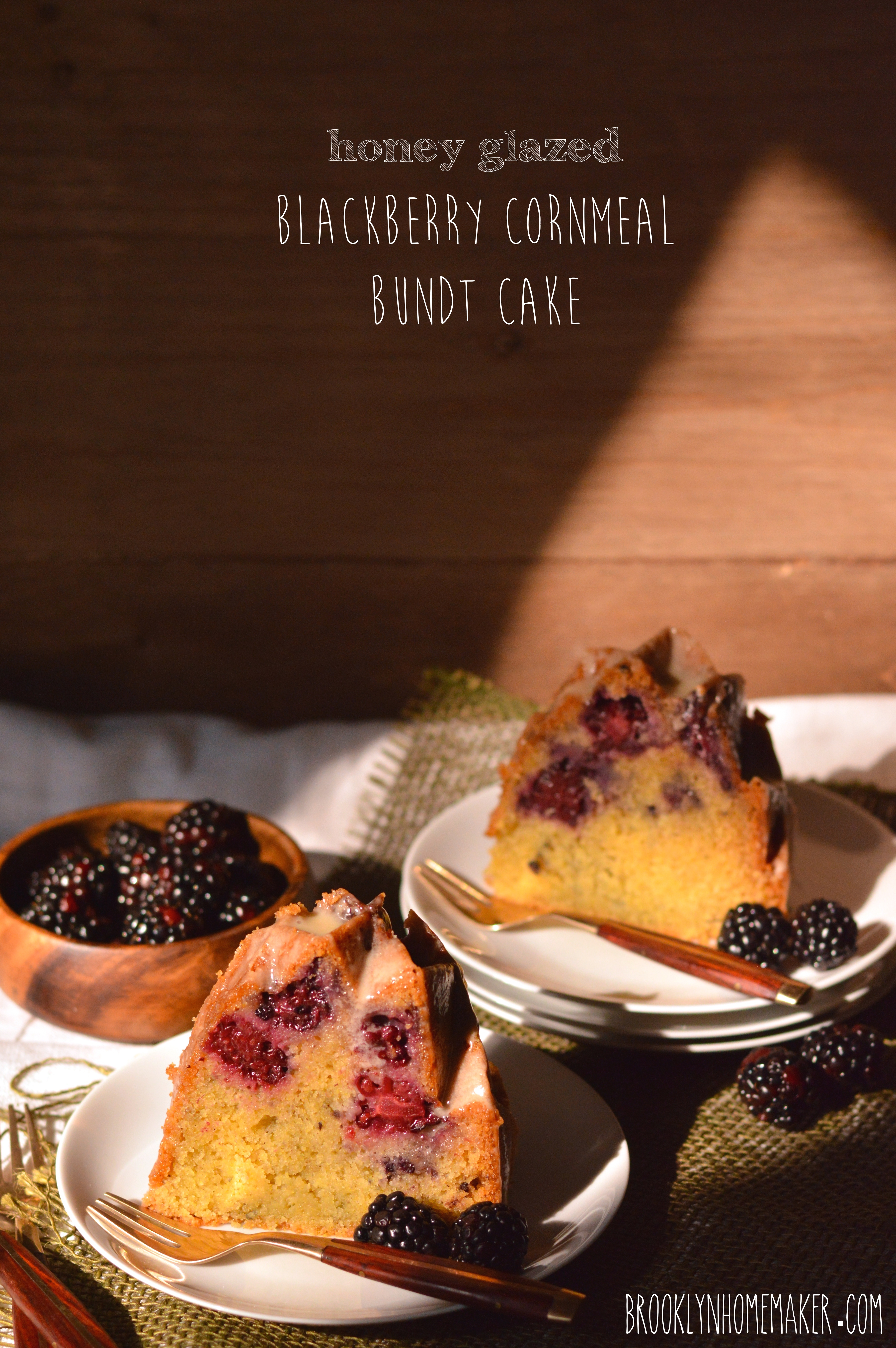 honey glazed blackberry cornmeal bundt cake | Brooklyn Homemaker