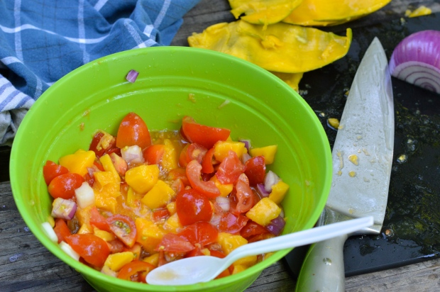 campfire grilled salmon with tomato mango salad | Brooklyn Homemaker