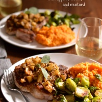 seared pork chops with apples, onions, & mustard