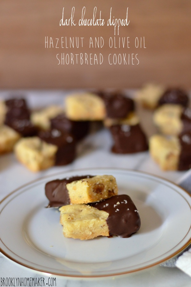 dark chocolate dipped hazelnut and olive oil shortbread cookies | Brooklyn Homemaker