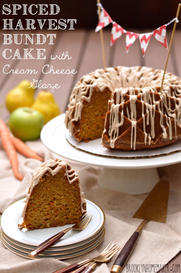 spiced harvest bundt cake with cream cheese glaze #bundtbakers ...