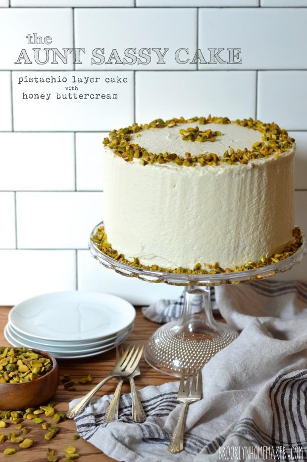 aunt sassy cake | pistachio layer cake with honey buttercream | Brooklyn Homemaker