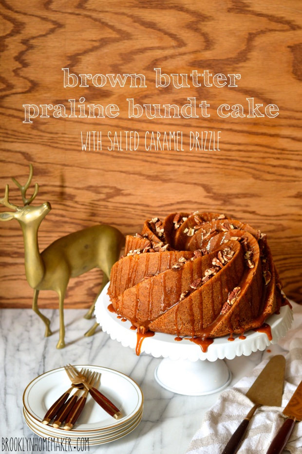 brown butter praline bundt cake with salted caramel drizzle | Brooklyn Homemaker