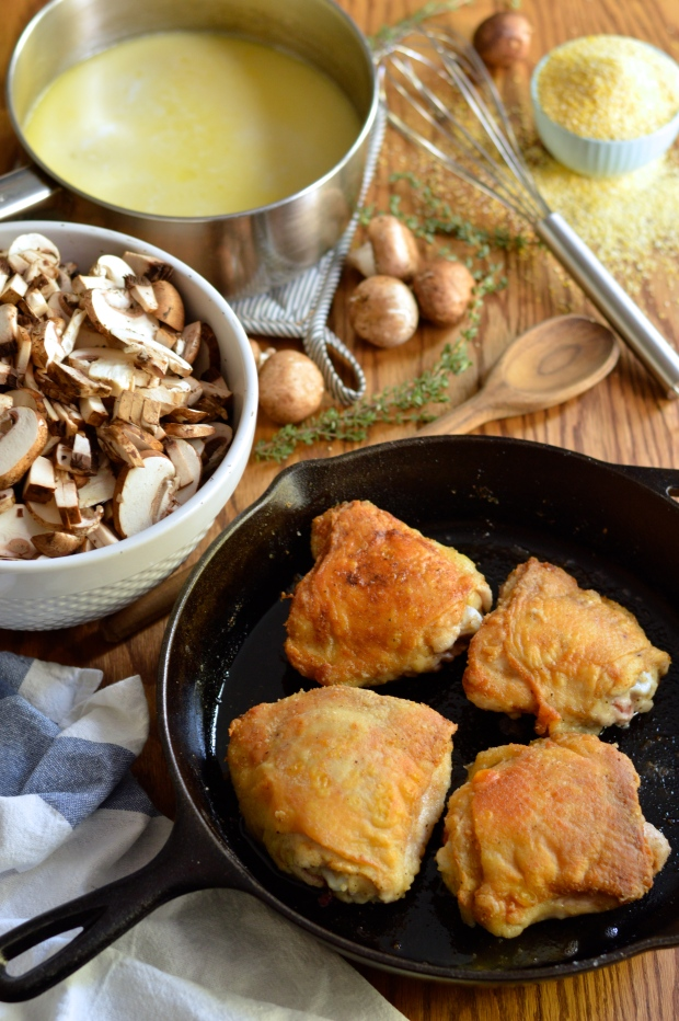 braised chicken thighs with mushrooms and creamy polenta | Brooklyn Homemaker