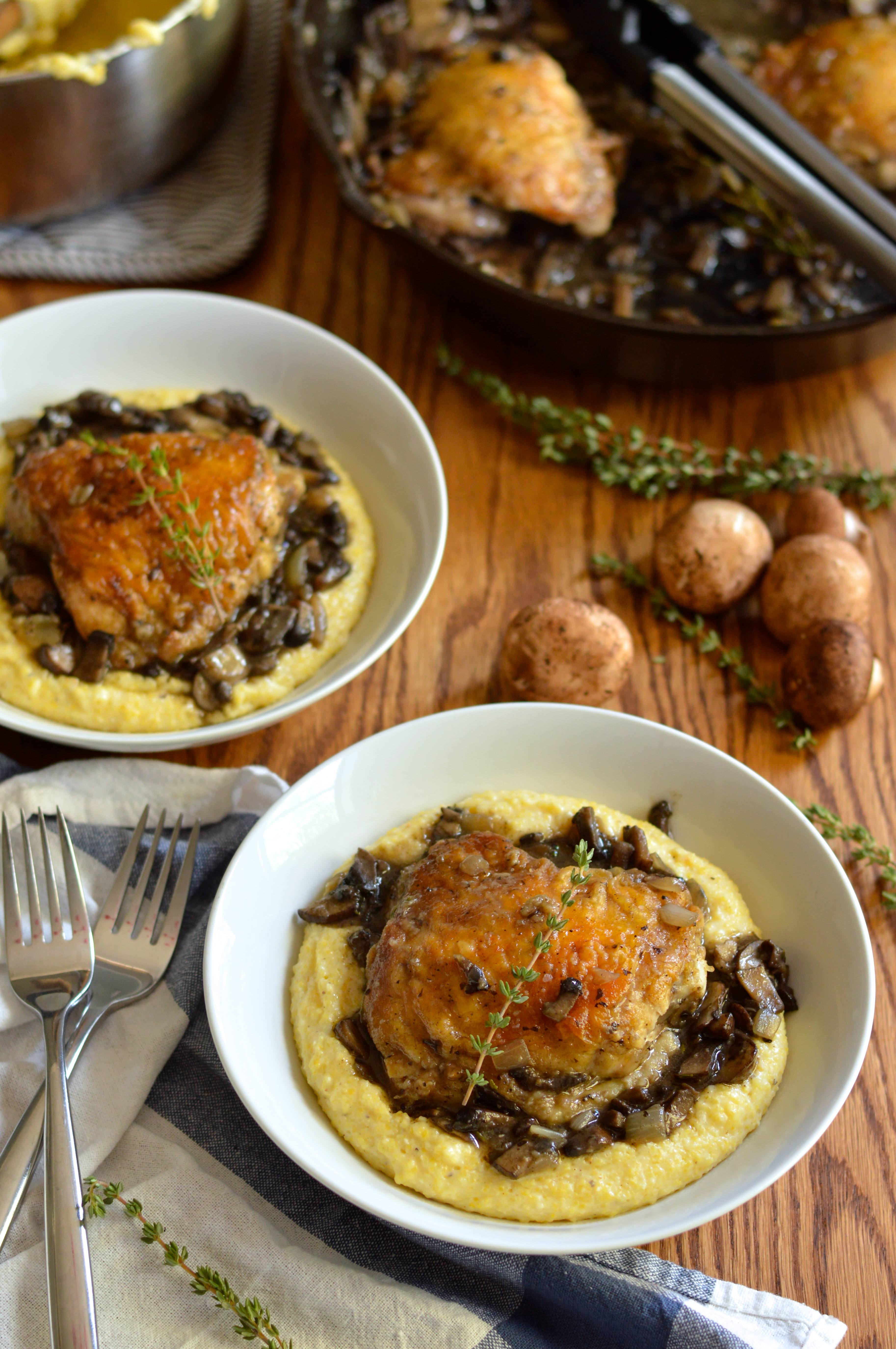 braised chicken thighs with mushrooms and creamy polenta | Brooklyn ...