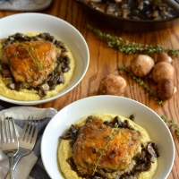 braised chicken thighs with mushrooms and creamy polenta