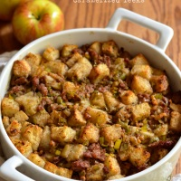 apple walnut dressing with sausage and caramelized leeks