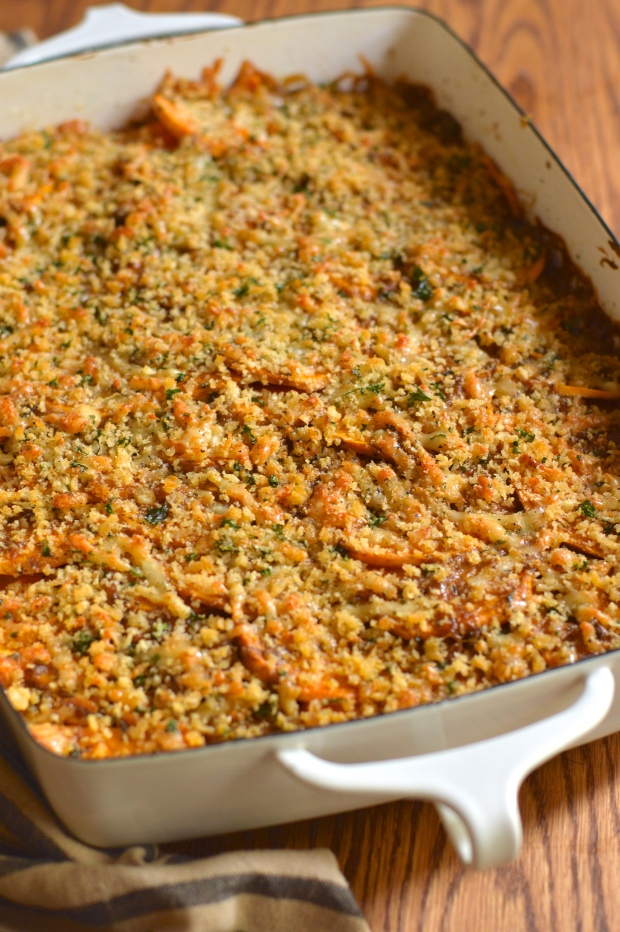 sweet potato gratin with caramelized onions & Jarlsberg | Brooklyn Homemaker