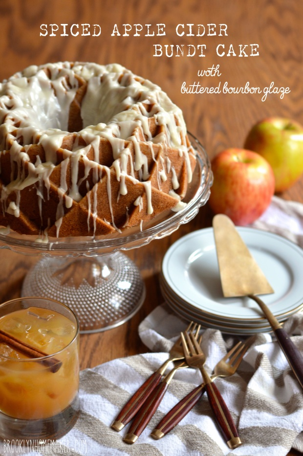 spiced apple cider bundt cake with buttered bourbon glaze #bundtbakers ...