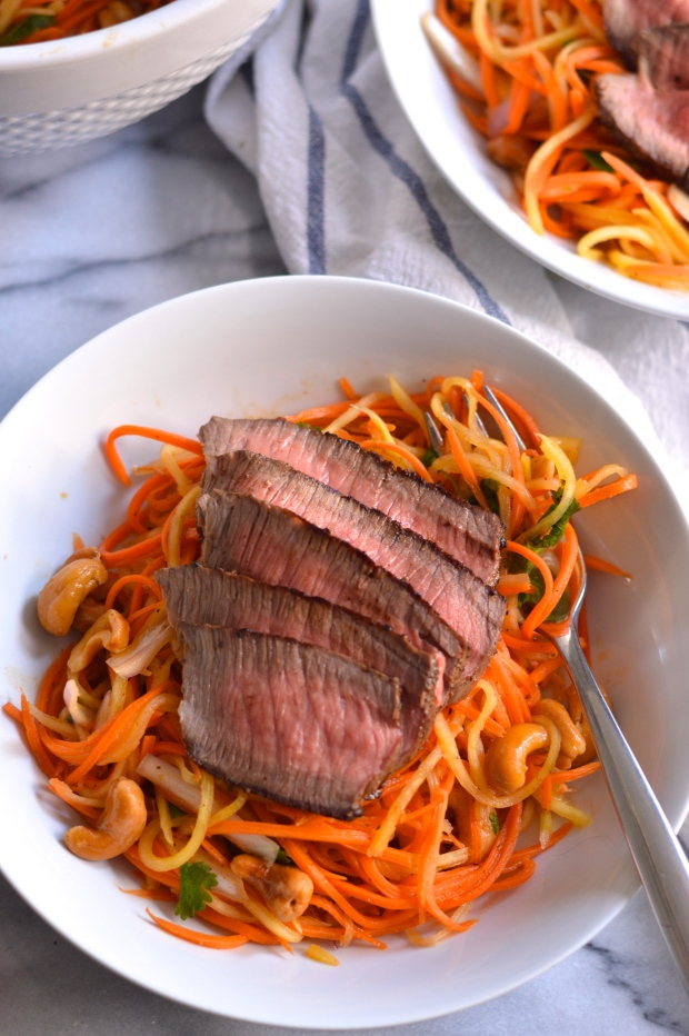 steak topped carrot and mango salad with chili lime dressing | Brooklyn Homemaker