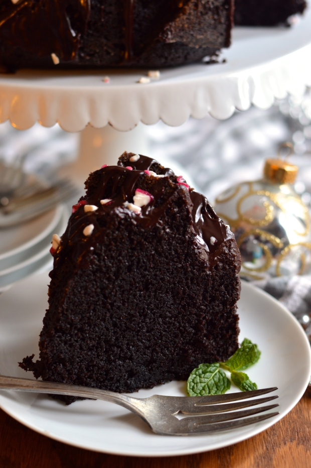 best chocolate bundt cake with peppermint dark chocolate ganache | Brooklyn Homemaker