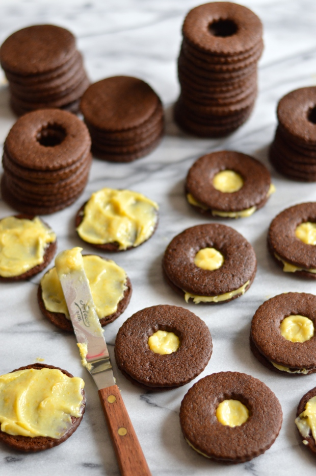 spicy gingerbread linzer cookies with orange white chocolate ganache | Brooklyn Homemaker