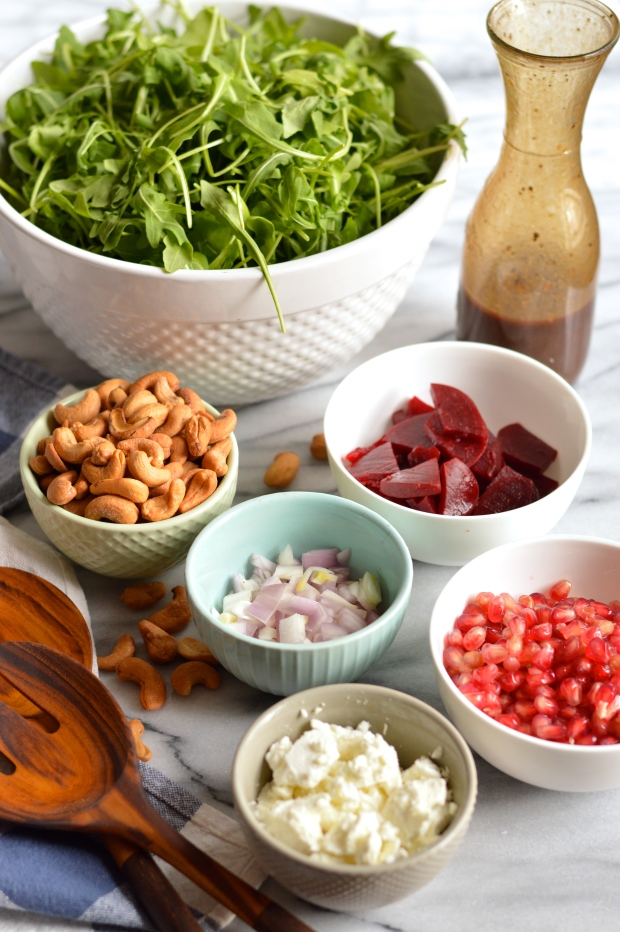 pickled beet and arugula salad with goat cheese and balsamic vinaigrette | Brooklyn Homemaker