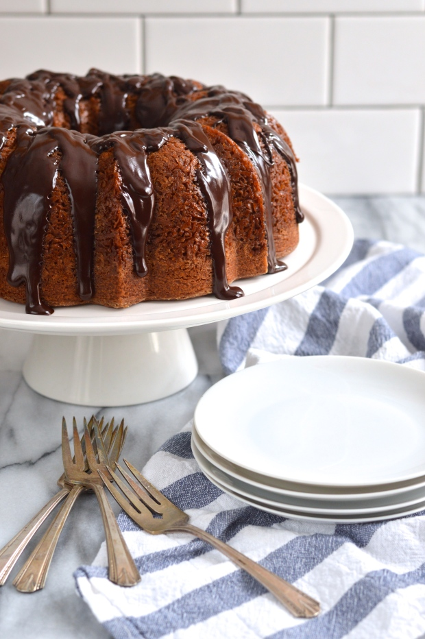 brown sugar coconut bundt cake with dark chocolate ganache | Brooklyn Homemaker
