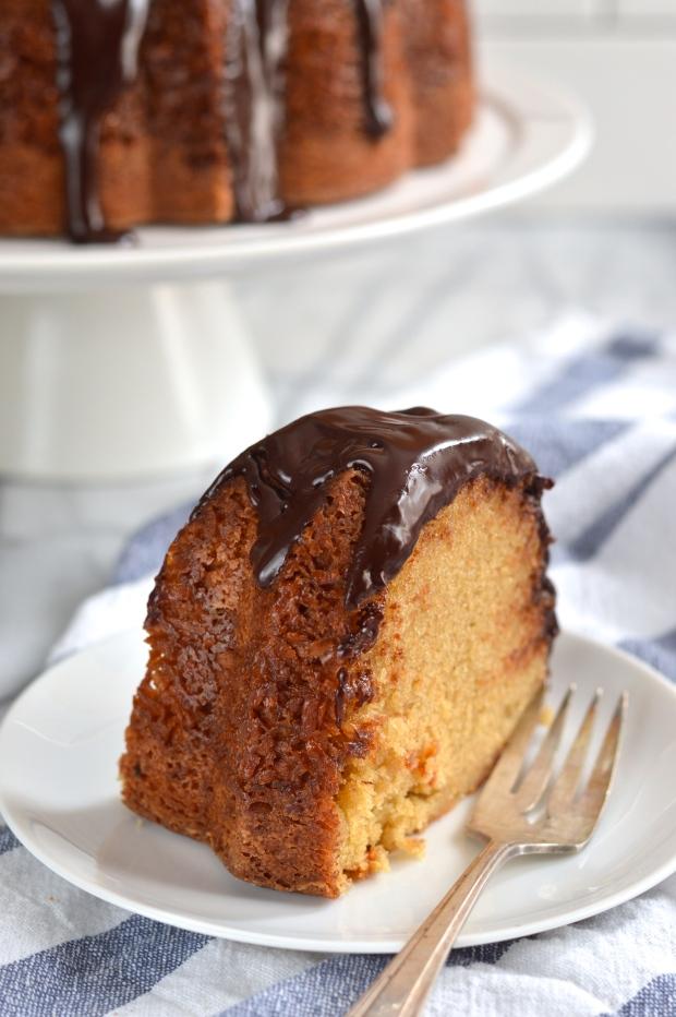brown sugar coconut bundt cake with dark chocolate ganache | Brooklyn Homemaker