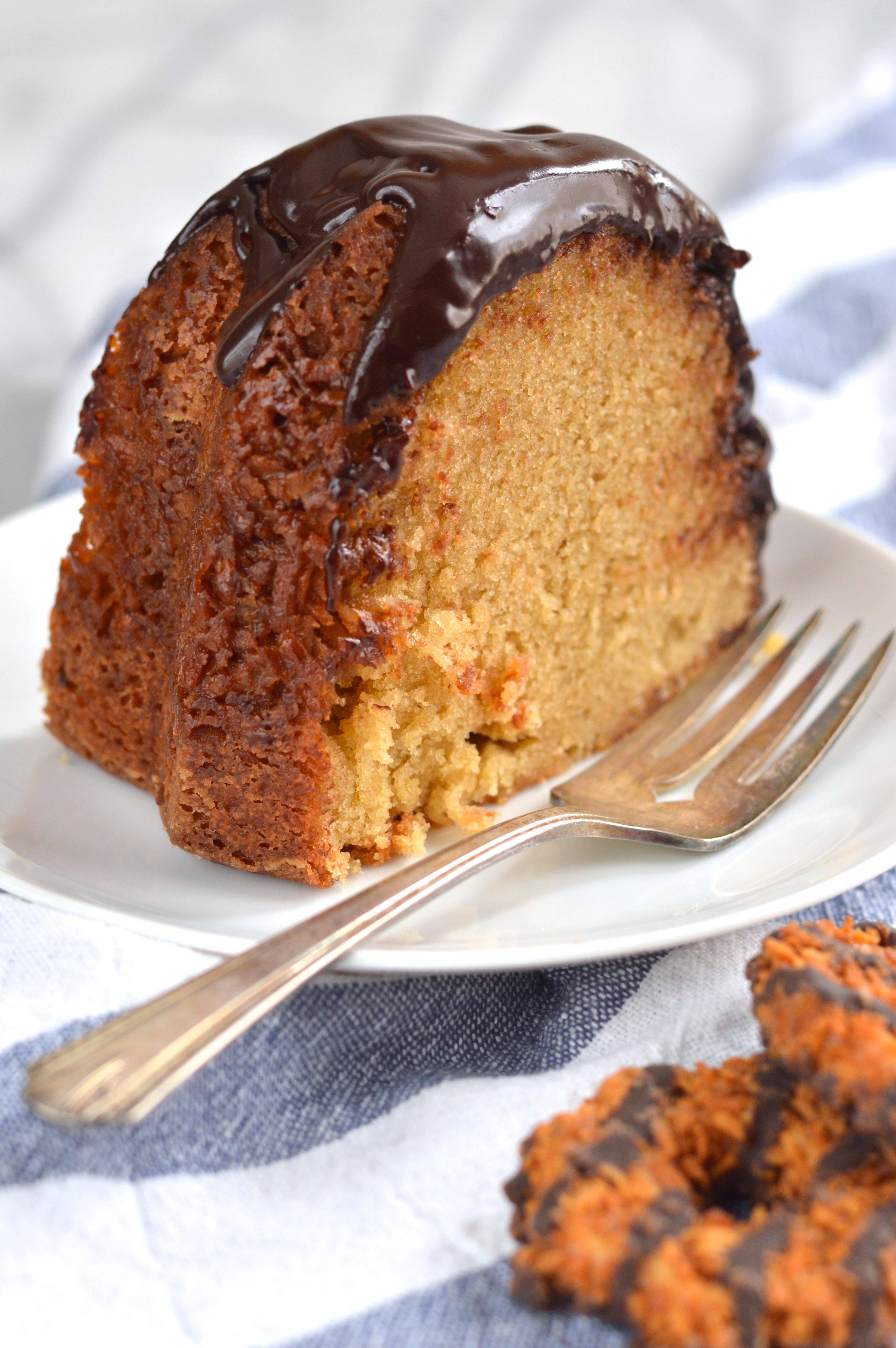 Brown Sugar Coconut Bundt Cake With Dark Chocolate Ganache