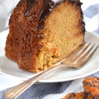 brown sugar coconut bundt cake with dark chocolate ganache #bundtbakers